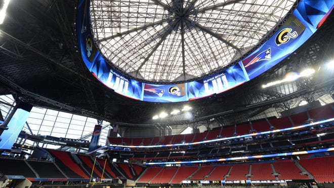 Jan 29, 2019; Atlanta, GA, USA; A general view during a stadium and field preparation press conference for Super Bowl XLIII at Mercedes-Benz Stadium. Mandatory Credit: John David Mercer-USA TODAY Sports