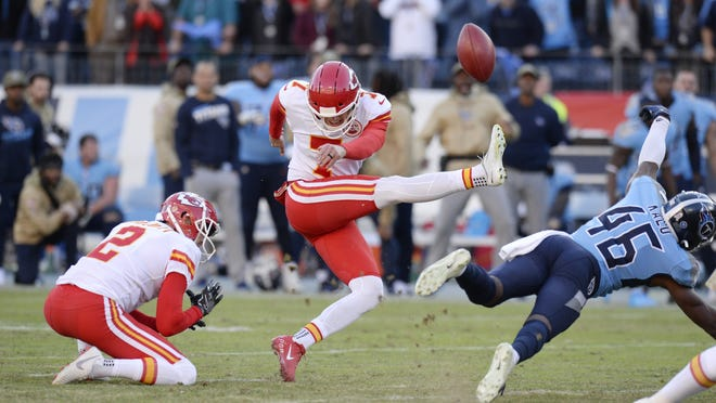 Tennessee defensive back Joshua Kalu blocks a 52-yard field goal attempt by Kansas City kicker Harrison Butker last season. Coaches around the NFL aren't quite sure what they'll get starting Thursday night when the 2020 season kicks off.