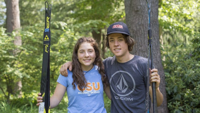 Mica (left) and Lucas Bodkins, of Dover, are nordic skiers for Dover-Sherborn High School, June 4, 2020. Both skiers finished in the top three at the Nordic state meet this season with Lucas winning his race, and Mica coming in second.