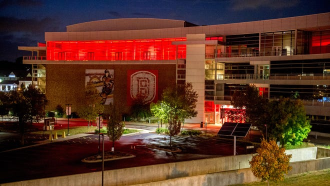 """Red lights accent the Peoria Civic Center on Wednesday, Sept. 2, 2020 as part of the """"Red Alert"""" campaign in support of the Restart Act (S. 3814) and Saves our Stages Act (S. 4258) to help independent venues, theater, and event promoters recover from economic impact of the COVID-19 pandemic."""