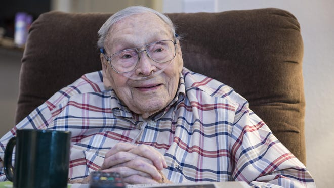 102-year-old WWII Veteran Thomas Calhoun Jr. photographed at his home in Evans, Ga., Monday afternoon, August 10, 2020.