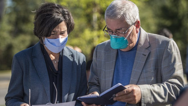 CEO at Augusta University Health Katrina Keefer, left, chats with CEO of Augusta University Medical Associates Dr. Charles Howell at the opening of the new AU Health pediatric multi specialty facility in Augusta, Ga., Wednesday morning November 4, 2020.