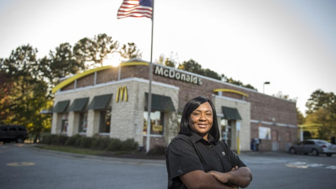 Evans McDonald's manager Victoria Robinson has been selected as a recipient of the 2020 Global Ray Kroc Award, an honor reserved for the top 1% of McDonald's managers worldwide. She is seen here in front of the McDonalds she manages in Evans, Ga., Monday afternoon November 2, 2020.