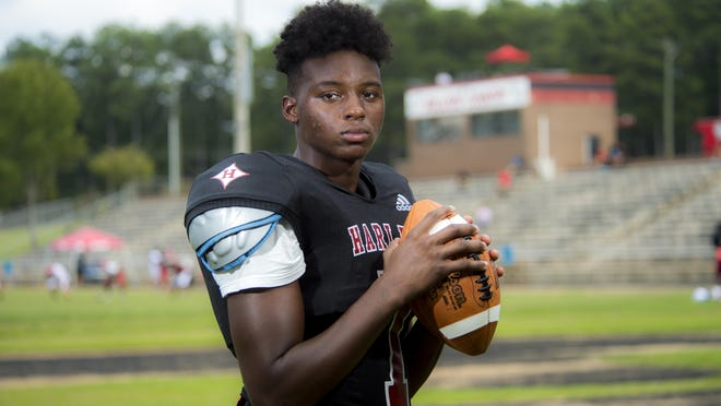 Harlem High School football player Jeremiah Ellis photographed at Harlem High School in Harlem, Ga., Thursday afternoon August 20, 2020.