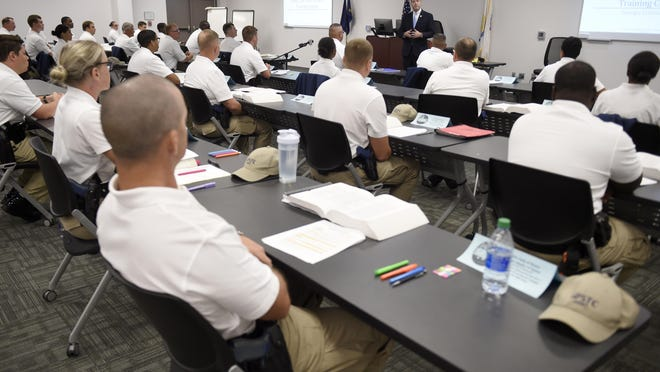 Georgia Attorney General Christopher Carr talks to police cadets during a visit to the Columbia County Sheriff's Office training facility in Appling, Ga., Wednesday morning October 14, 2020