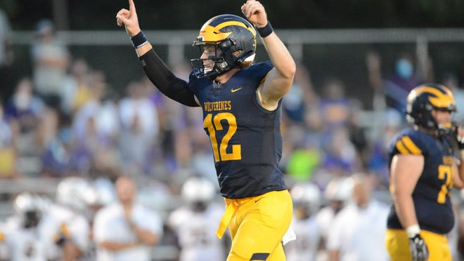 Prince Avenue Christian quarterback Brock Vandagriff celebrates a touchdown Friday night in its 42-7 season-opening win over Calvary Day. The UGA commit threw for 234 yards and rushed for 107 more in the victory.