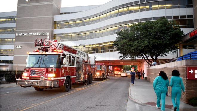 To show support for hard working COVID-19 medical workers, firefighters gathered outside the Augusta University Medical Center as workers came in to work Tuesday morning April 28, 2020  in Augusta Ga.