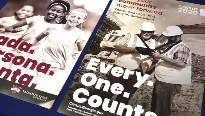 Census posters on display to promote the upcoming census during a press conference at the Municipal Building in Augusta, Ga., Wednesday morning February 12, 2020.