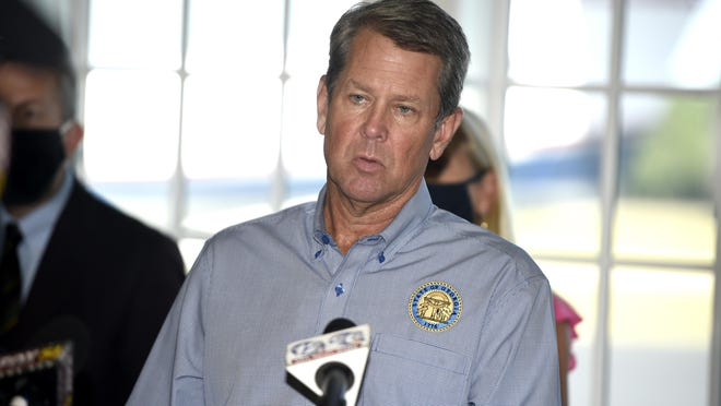 Georgia Gov. Brian Kemp speaks during a stop on his fly-around tour to encourage Georgians to stop the spread of COVID-19  in Augusta, Ga., Friday afternoon September 4, 2020.
