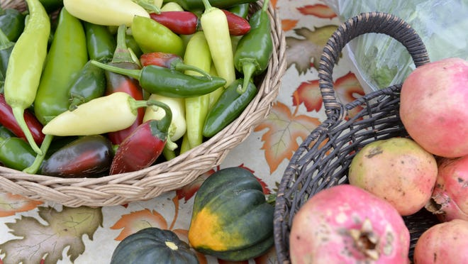 Some of the fresh produce available at the Farmers Market at Evans Towne Center Park in Evans, Ga., Thursday afternoon October 25, 2018.