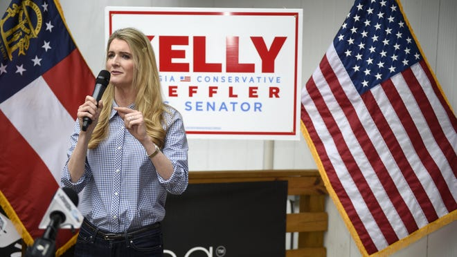 Sen. Kelly Loeffler, R-Ga., and Sen. Tom Cotton, R-Ark., hold a campaign event for Loeffler at the Recteq facility in Evans, Ga., Monday afternoon October 12, 2020