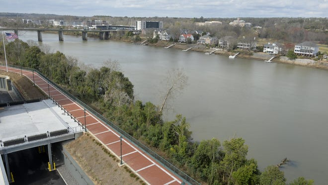 Photographed from the top of the Georgia Cyber Center in downtown Augusta, bridge pilings and lowered boat docks show the effects of the Savannah River dradown on Feb. 12.