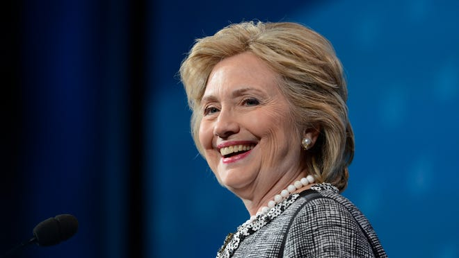 Former Sec. of State Hillary Rodham Clinton addresses the AJC Global Forum in Washington on Wednesday, May 14, 2014.