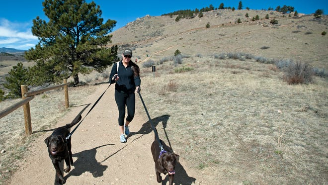 Krestienne Gaona hikes with her dogs Lily and Oso on the Horsetooth Rock Trail. When hiking with dogs, it's important to have your dogs leashed to avoid conflicts with other trail users.