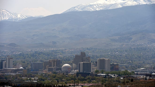 Smoke from wildfires in Siberia is the reason for the haze in the Reno Sparks area on April 20, 2015.