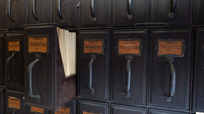 Drawers containing records dating back to the early 1800s at the Wayne County Courthouse in Richmond.