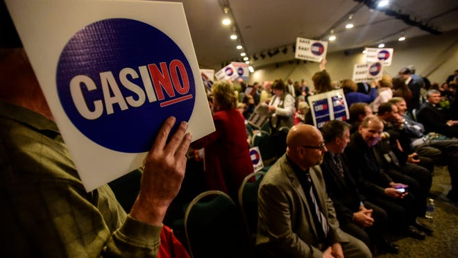 The five-member casino-siting board recommended no sites in Orange County during Wednesday's meeting. Casino opponents were among those in the audience.