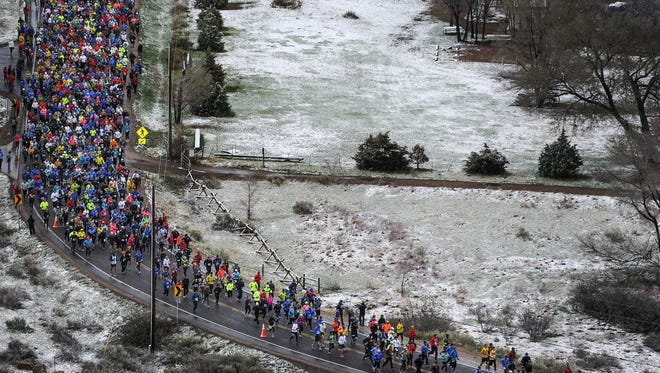 Racers start the 2014 Horsetooth Half Marathon. The half-marathon distance is the second-most popular among runners, behind the 5K.