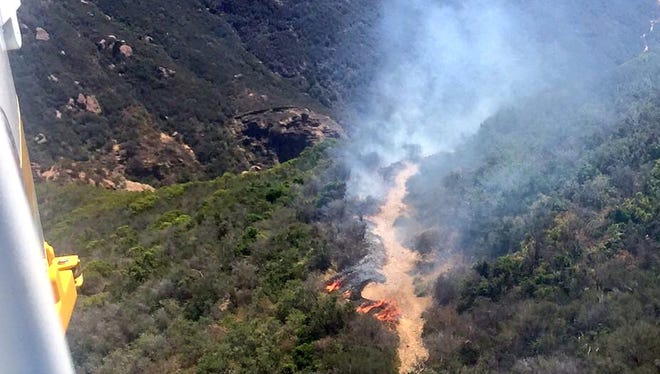 Fire crews from Ventura and Los Angeles counties responded to a brush fire near Lake Sherwood Thursday morning.