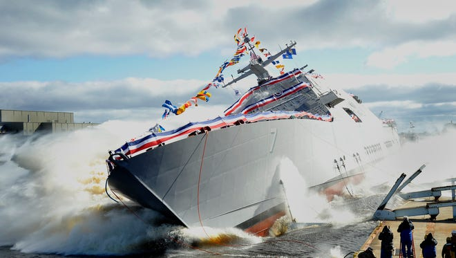 A commissioning ceremony will be held Oct. 22 for the USS Detroit, pictured here.