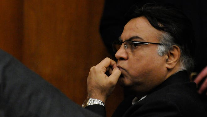 Dr. Raja Jagtiani of Bergenfield waits to hear his sentence on Friday.  The sentencing of Dr. Raja Jagtiani took place before Judge Margaret Foti, in the Bergen County Courthouse in Hackensack, on Friday, January 27, 12017.