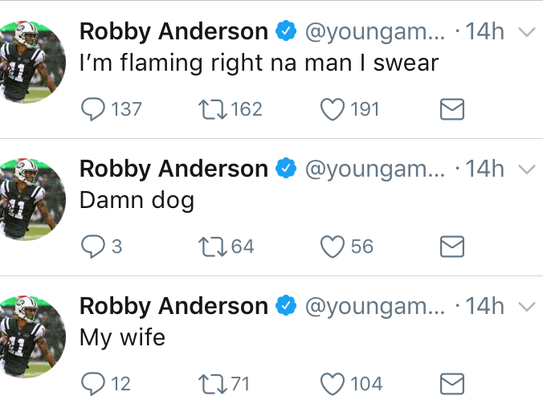 Jets WR Robby Anderson sent out three strange tweets