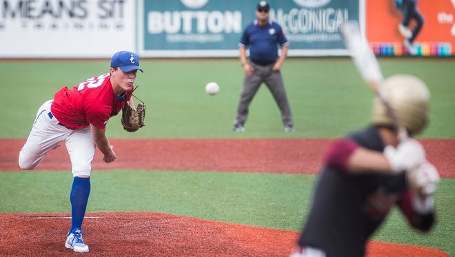 Jay County's Wyatt Geesaman pitches against Andrean in their semi state game at the Kokomo Municipal Stadium Saturday, June, 9, 2018.