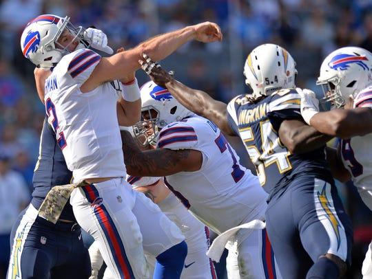 Nov 19, 2017; Carson, CA, USA; Buffalo Bills quarterback