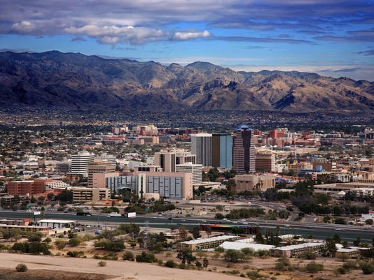 Scenic view of Tucson Arizona with mountains