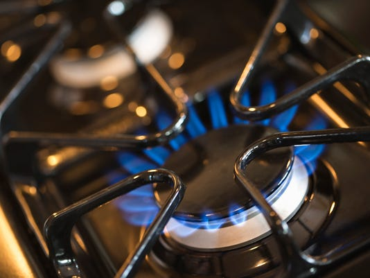 Lit burner on gas stove