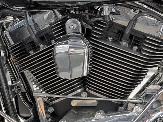 Detail of air cooled V-twin engine of motorcycle.