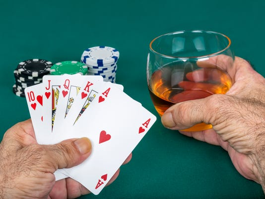 Poker and Chips Green Background