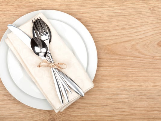 Empty plate and silverware set