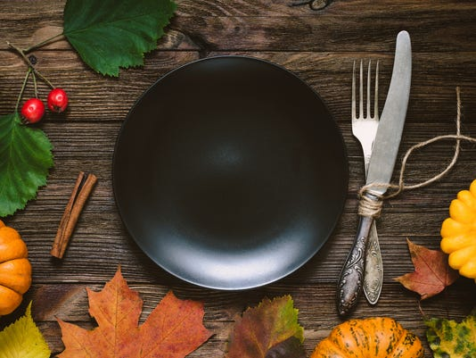 Thanksgiving dinner menu: crockery
