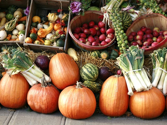 Pumpkins and gourds at farmer's market.