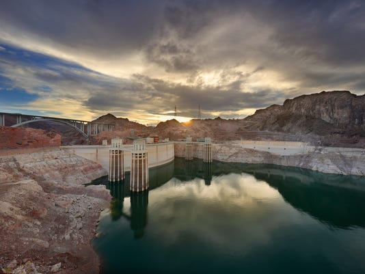 Hoover Dam at sunset