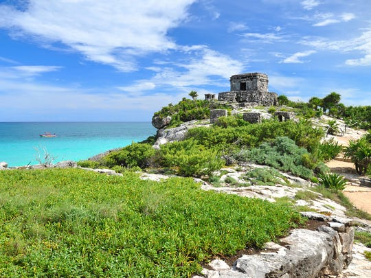 Ancient Mayan ruins can be found at Riviera Maya, Mexico.