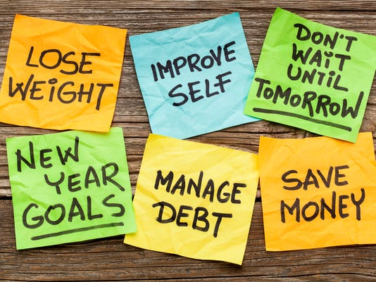New Years goals or resolutions on sticky notes