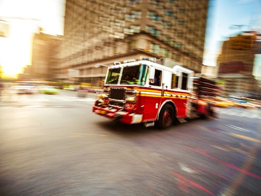 Fire department truck in emergency