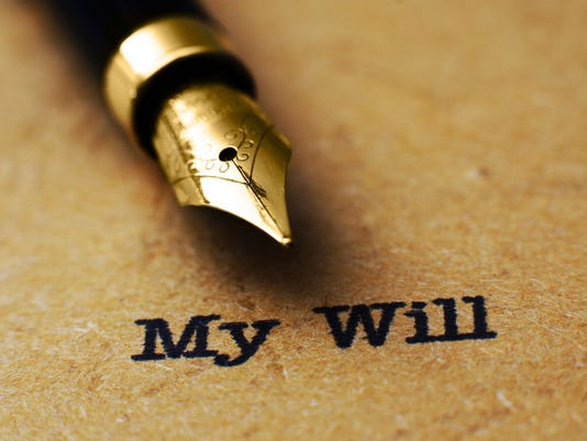 A close-up of a quill pen above black text stating, My Will