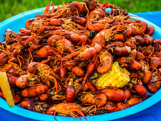 Crayfish Corn Potatoes Shell Fish Piled High Cajun