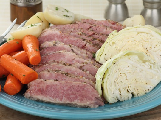 Slied corned beef and cabbage.