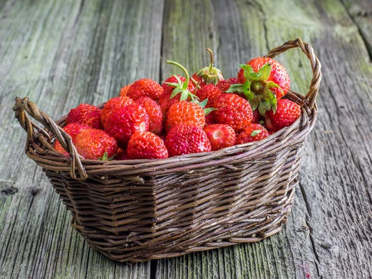 Strawberries in a Wicker Basket