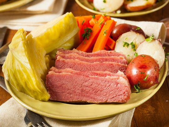 Homemade corned beef and cabbage with potatoes and