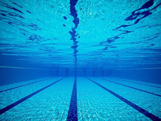 An example of a swimming pool from underwater.