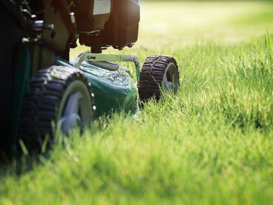 Close up of machine mowing grass