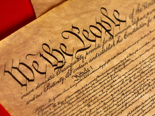 A parchment of the Constitution of the United States.
