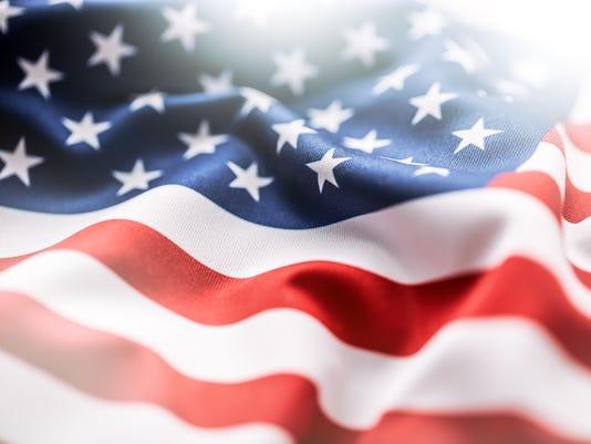 Webkey - American flag blowing