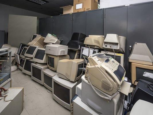 Old monitors and computer parts
