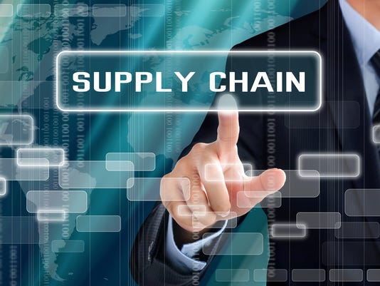 Businessman hand touching SUPPLY CHAIN sign on virtual screen